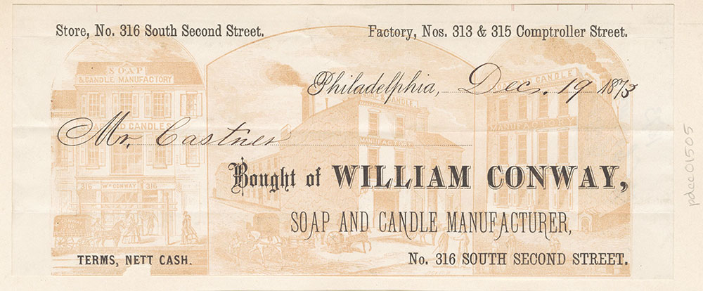 William Conway, soap and candle manufacturer. Billhead. [graphic]