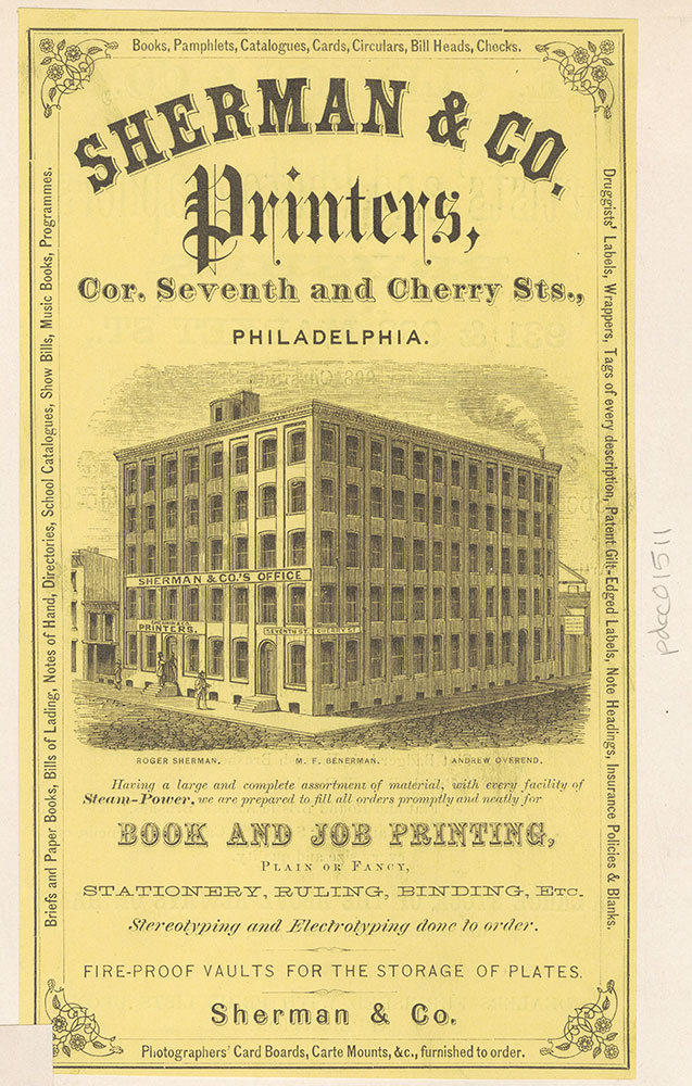 Sherman & Co. Printers, Cor. Seventh and Cherry Sts. [graphic]