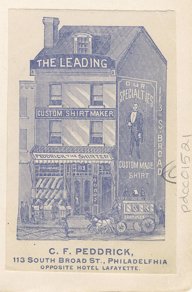 C. F. Peddrick, 113 South Broad Street, Philadelphia opposite Hotel Lafayette. [graphic]