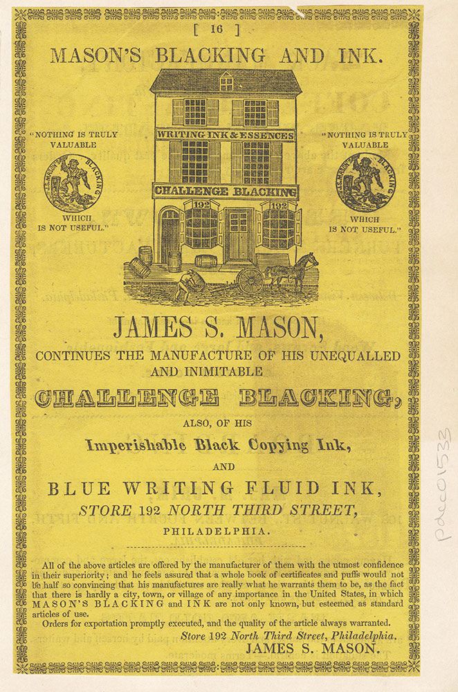 James S. Mason, blacking and ink. 192 North Third Street [graphic]