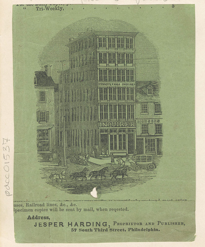 Pennsylvania Inquirer. Jesper Harding, proprietor and publisher. 57 South Third Street. [graphic]