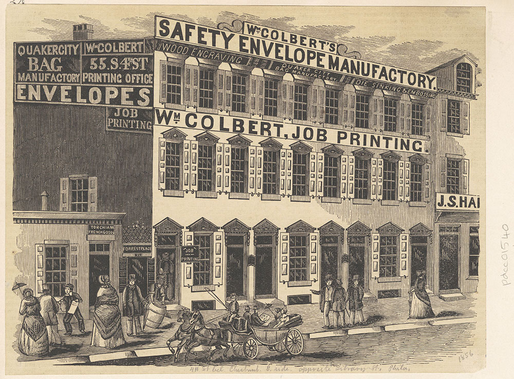 [Wm. Colbert's Safety Envelope Manufactory, Job Printing] [55 S. 4th St.] [graphic]