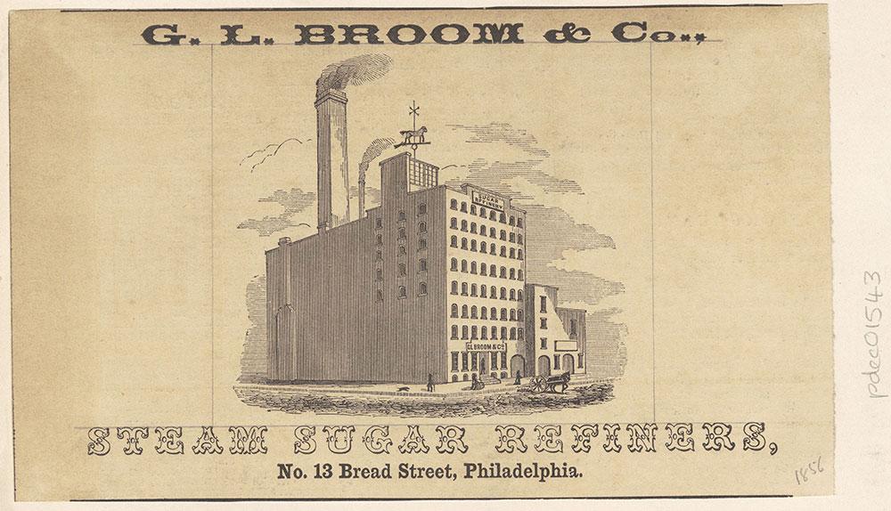 G. L. Broom & Co., Steam Sugar Refiners, No. 13 Bread Street, Philadelphia. [graphic]