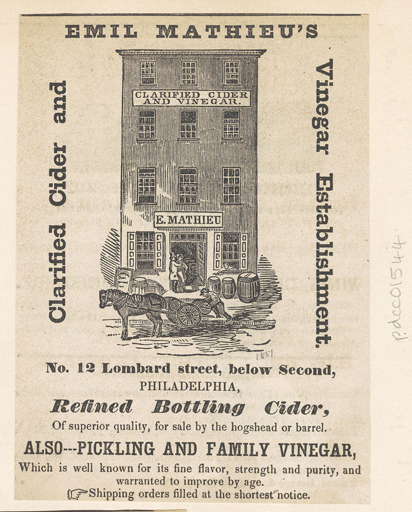 Emil Mathieu's clarified cider and vinegar, No. 12 Lombard Street [graphic]