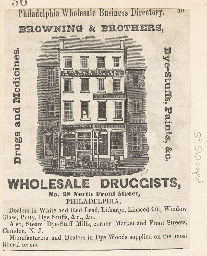 Browning & Brothers, wholesale druggists. No.28 North Front Street. [graphic]