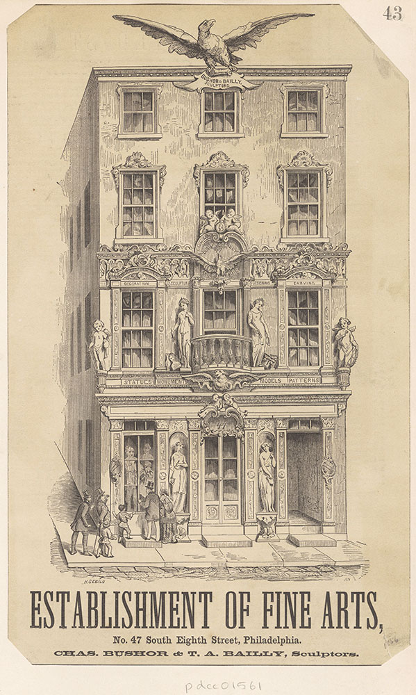 Chas. Bushor & T. A. Bailly, Sculptors. Establishment of Fine Arts, No. 47 South Eighth Street [graphic]