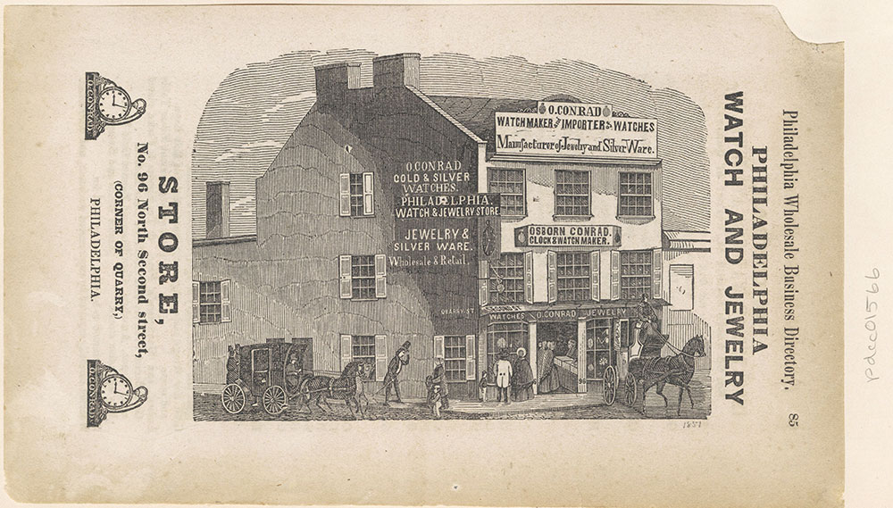Philadelphia Watch and Jewelry Store, No. 96 North Second Street, corner of Quarry.  [Osborn Conrad clock and watchmaker] [graphic]