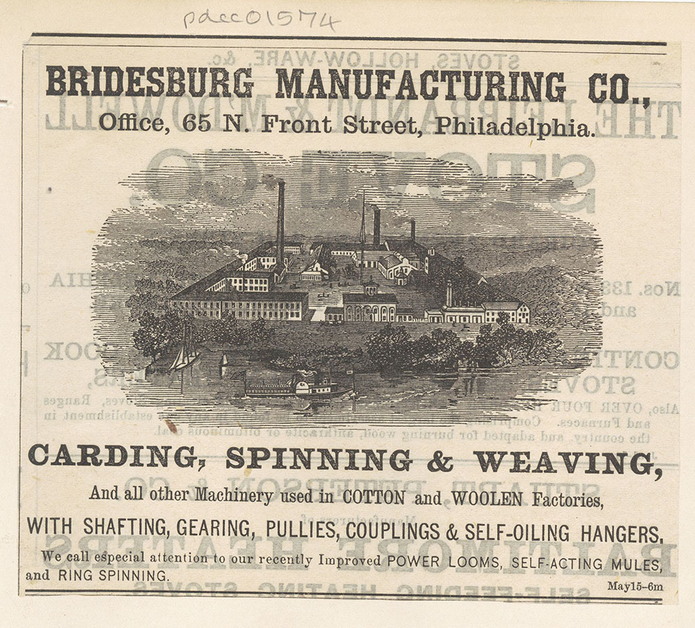 Bridesburg Manufacturing Co., carding, spinning & weaving [graphic]