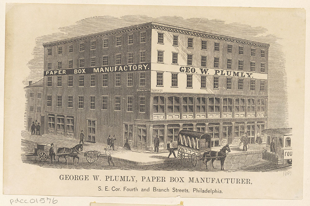 George W. Plumley, paer box manufacturer, S. E. corner of Fourth and Branch Streets [graphic]