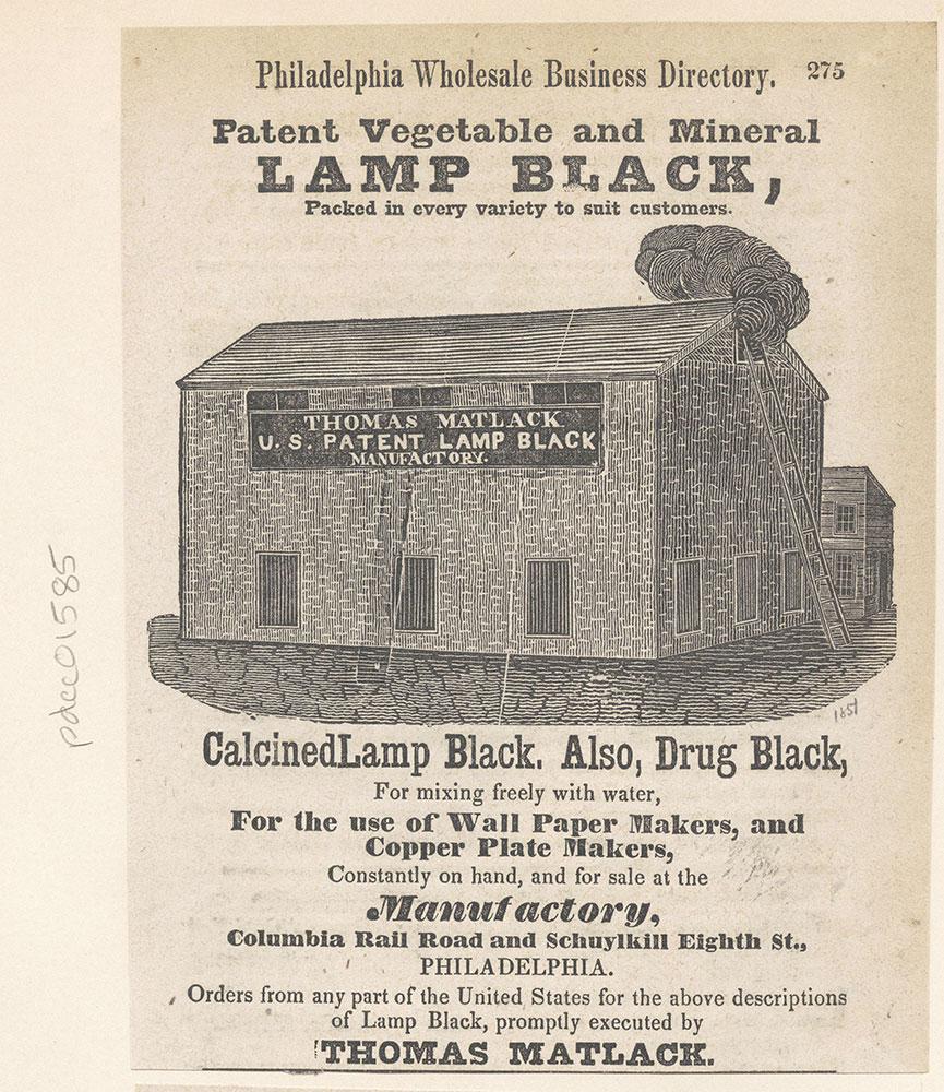 Thomas Matlack [U.S. Patent Lamp Black Manufactory] [graphic]