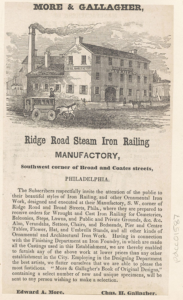 More & Gallagher, Ridge Road Steam Iron Railing Manufactory, southwest corner of Broad and Coates Streets [graphic]