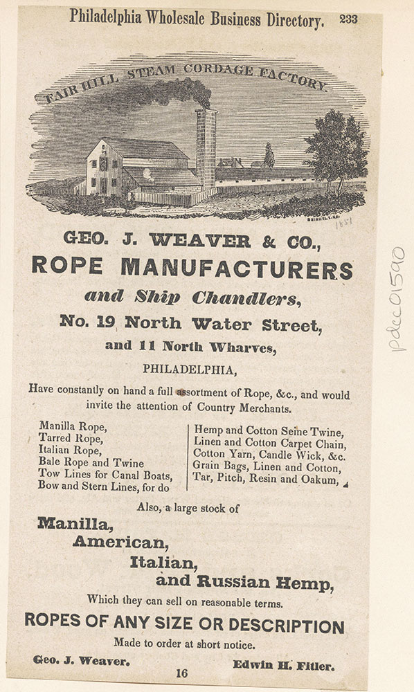 George J. Weaver & Co., Rope Manufacturers and Ship Chandlers