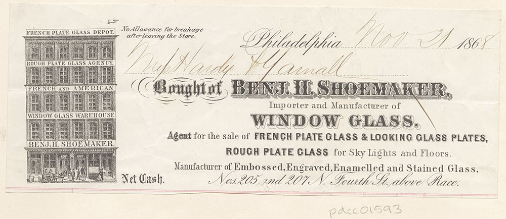 Benj. H. Shoemaker, Importer and Manufacturer of Window Glass. Bill of Sale.