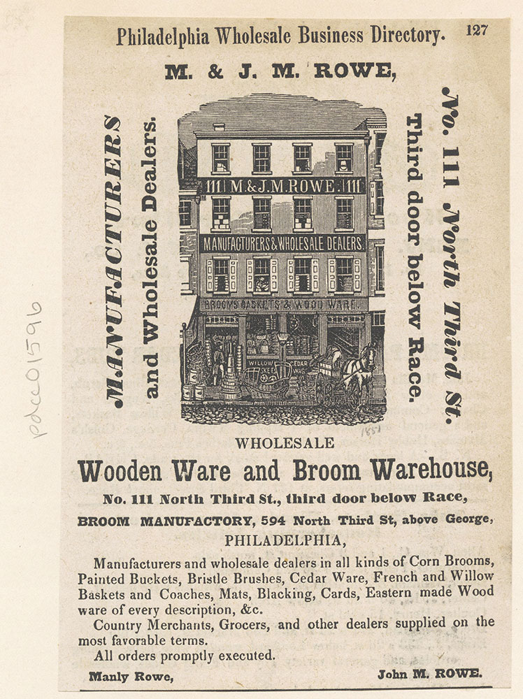 M. & J. M. Rowe. Wooden Ware and Broom Warehouse.