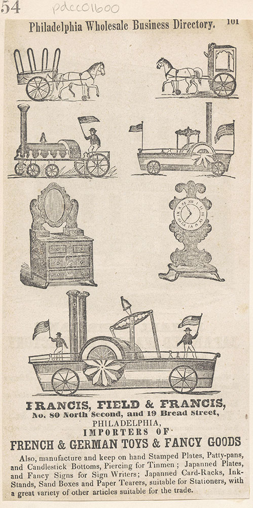 Francis, Field & Francis. Importers of French & German Toys & Fancy Goods