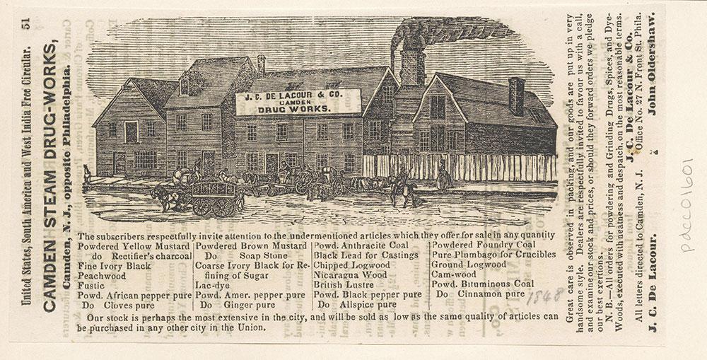 Camden Steam Drug-Works. J. C. De Lacour & Co.