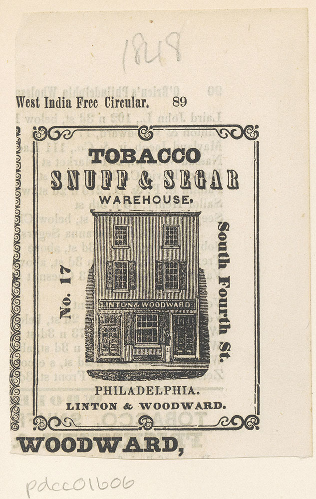 Linton & Woodward. Tobacco Snuff & Segar Warehouse.