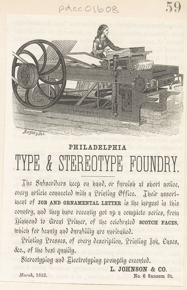 Philadelphia Type & Stereotype Foundry - L. Johnson & Co.