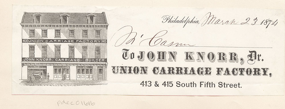 Union Carriage Factory. John Knorr, carriage builder.