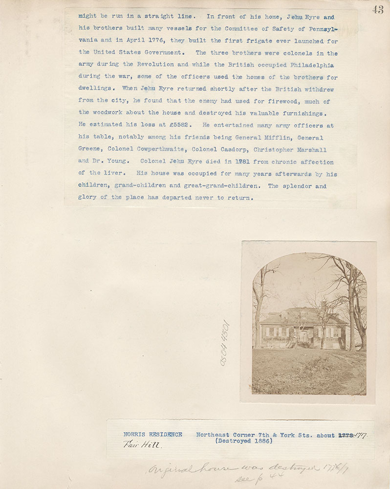 Castner Scrapbook v.4, Old Houses 1, page 43