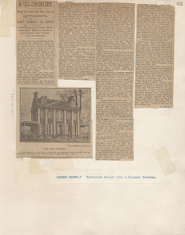 Castner Scrapbook v.4, Old Houses 1, page 63