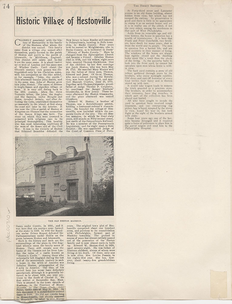Castner Scrapbook v.4, Old Houses 1, page 74