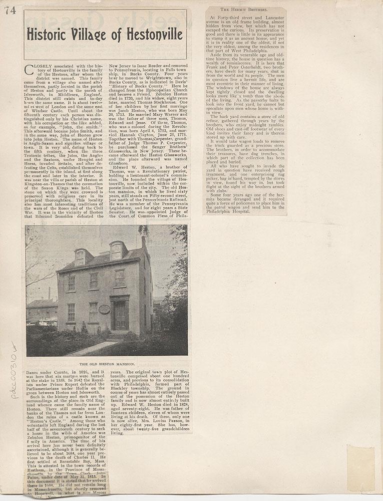 Castner Scrapbook v.4, Old Houses 1, page 74