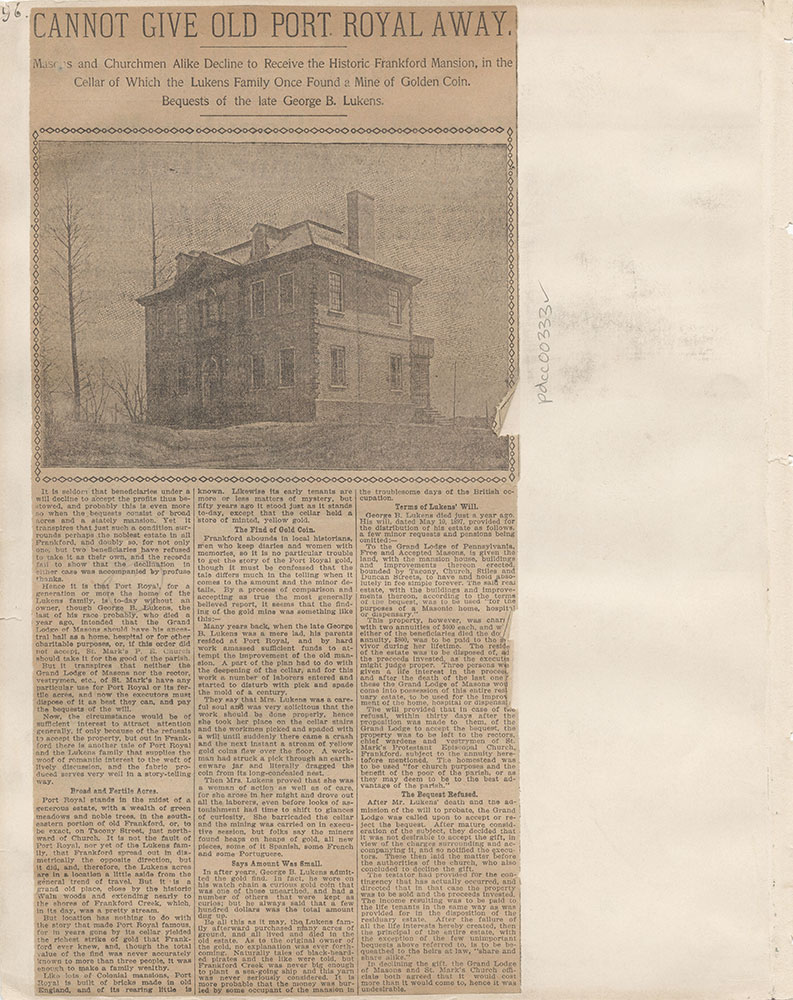 Castner Scrapbook v.4, Old Houses 1, page 96
