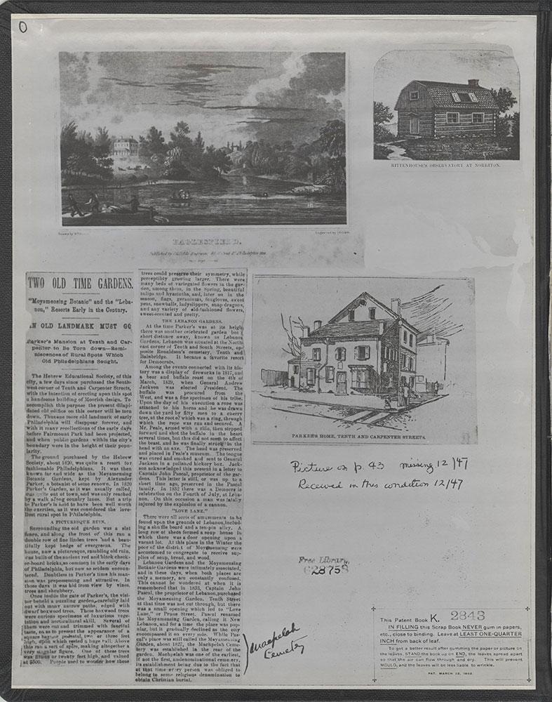 Castner Scrapbook v.5, Old Houses 2, page 0 (inside front cover)