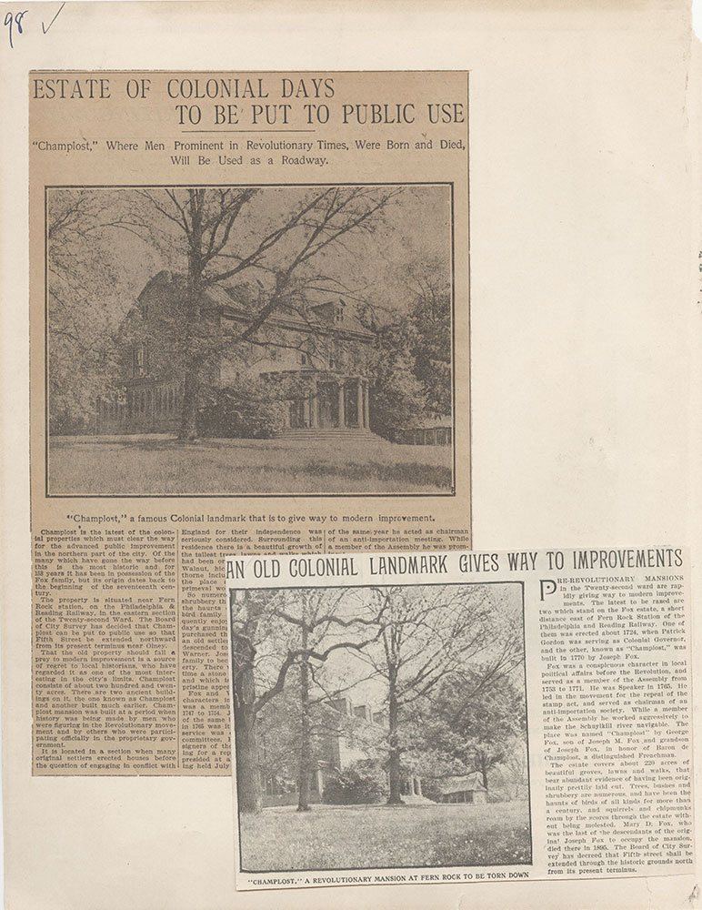 Castner Scrapbook v.5, Old Houses 2, page 98