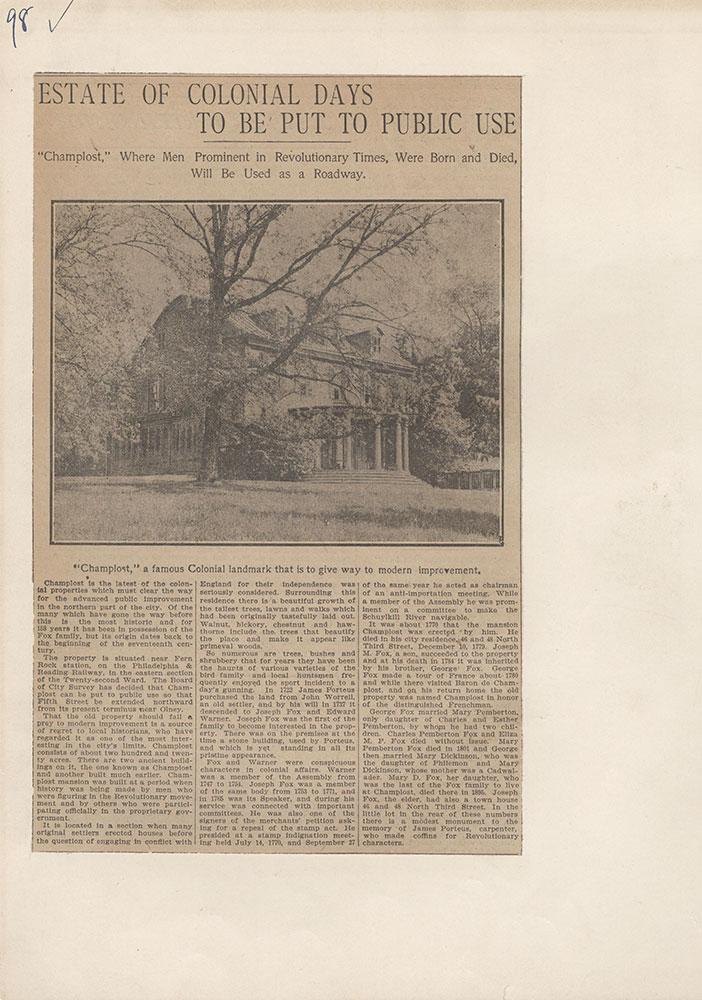 Castner Scrapbook v.5, Old Houses 2, page 98