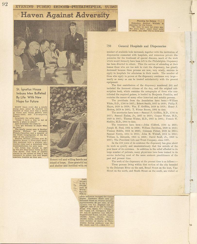 Castner Scrapbook v.9, Hospitals, Charitable, page 92
