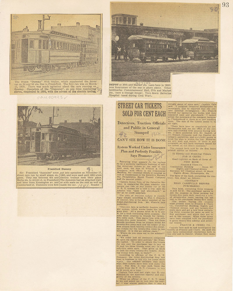 Castner Scrapbook v.10, Transportation, page 93