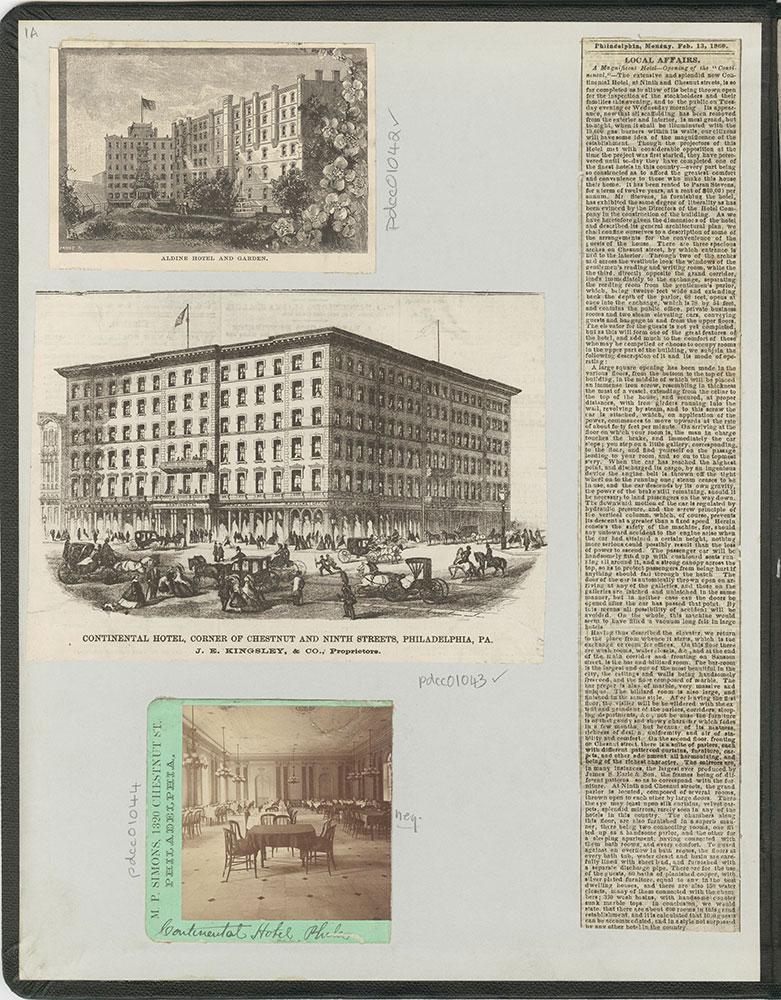 Castner Scrapbook v.11, Hotels, Inns, inside front cover