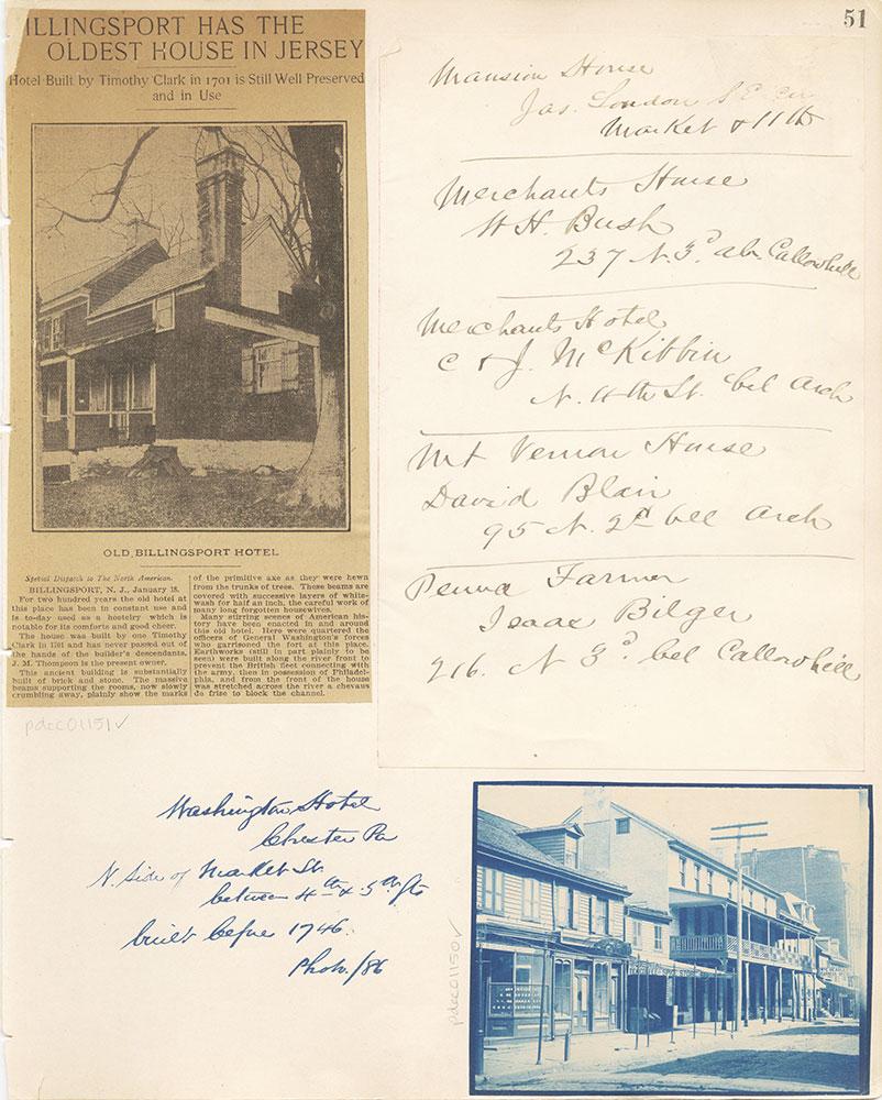 Castner Scrapbook v. 11, Hotels, Inns, page 51