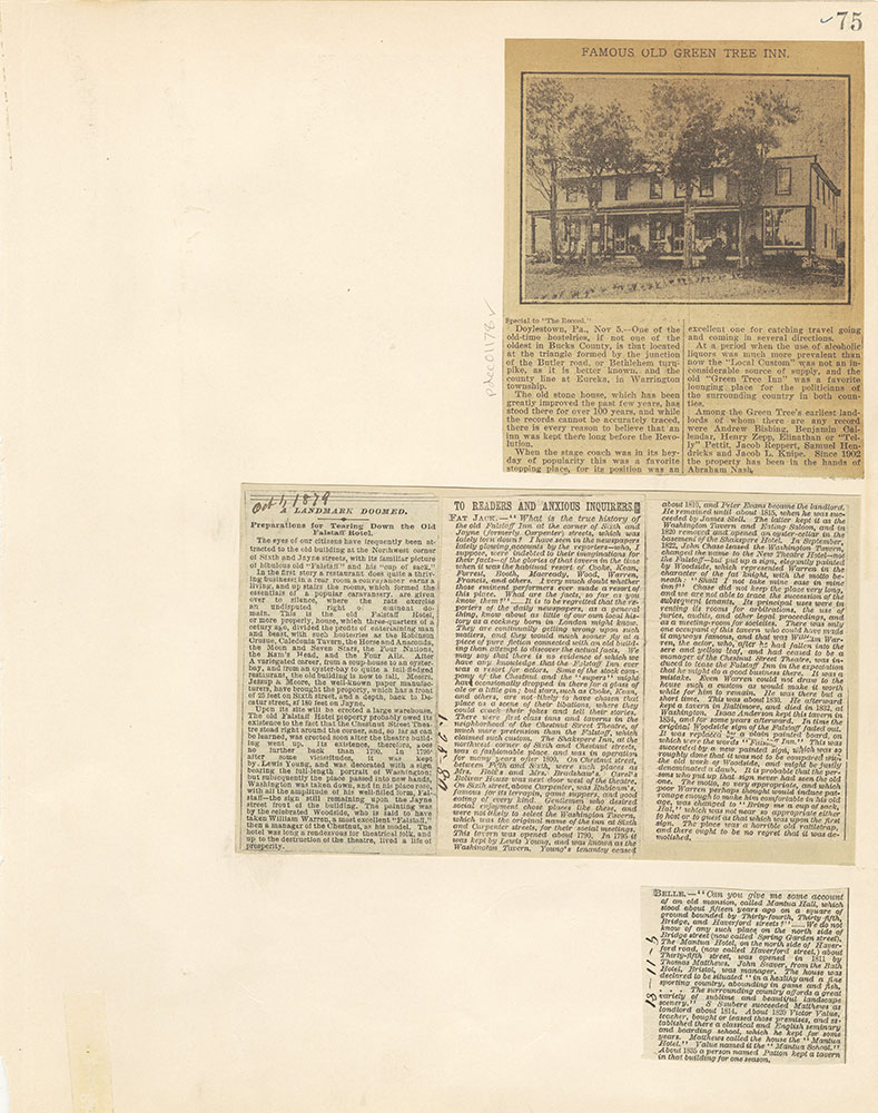 Castner Scrapbook v. 11, Hotels, Inns, page 75