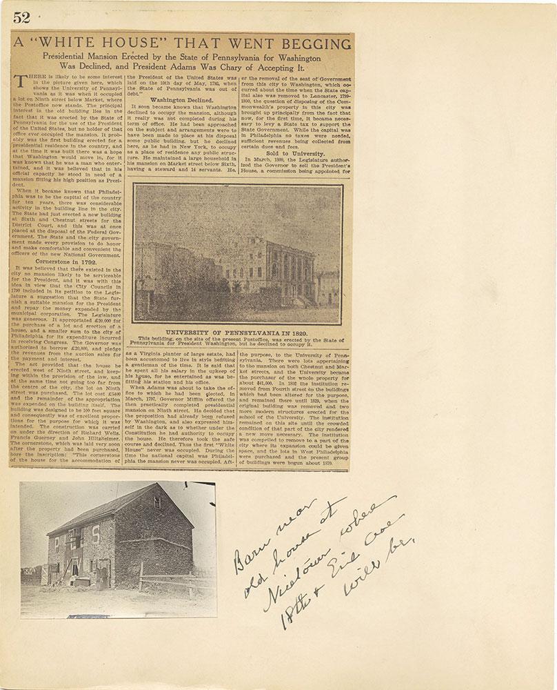 Castner Scrapbook v.27, Old Houses 4, page 52