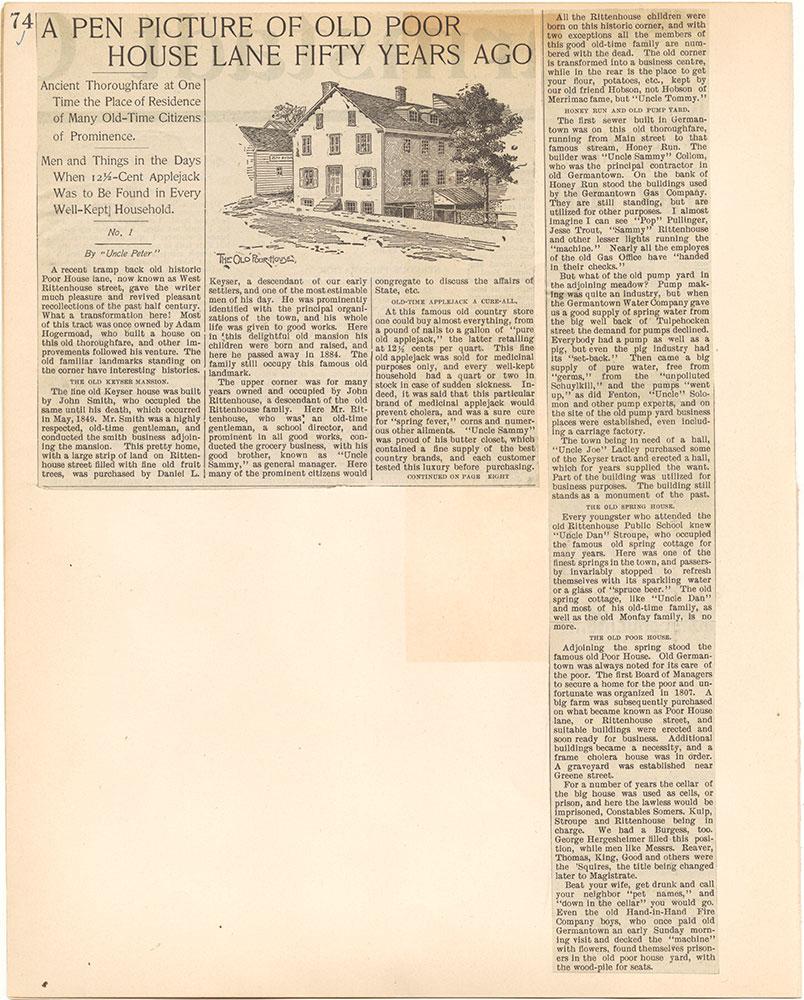 Castner Scrapbook v.38, Germantown 2, page 74