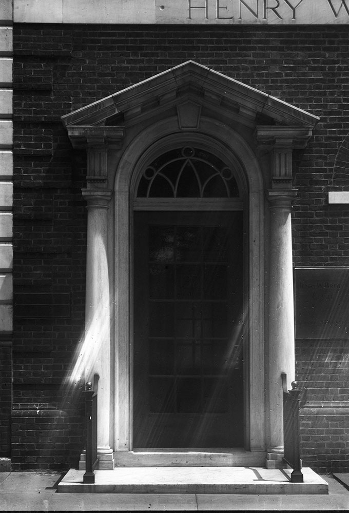 Banking office of Henry W. Brown, detail of door