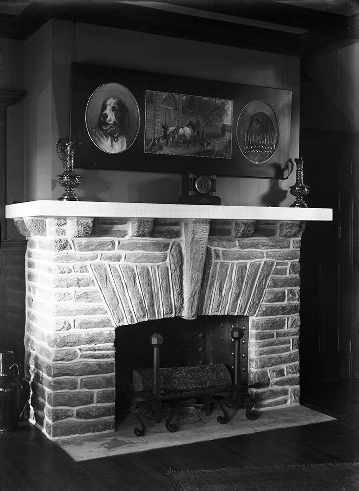 Samuel Eckert residence, Devon, PA, interior fireplace in hall