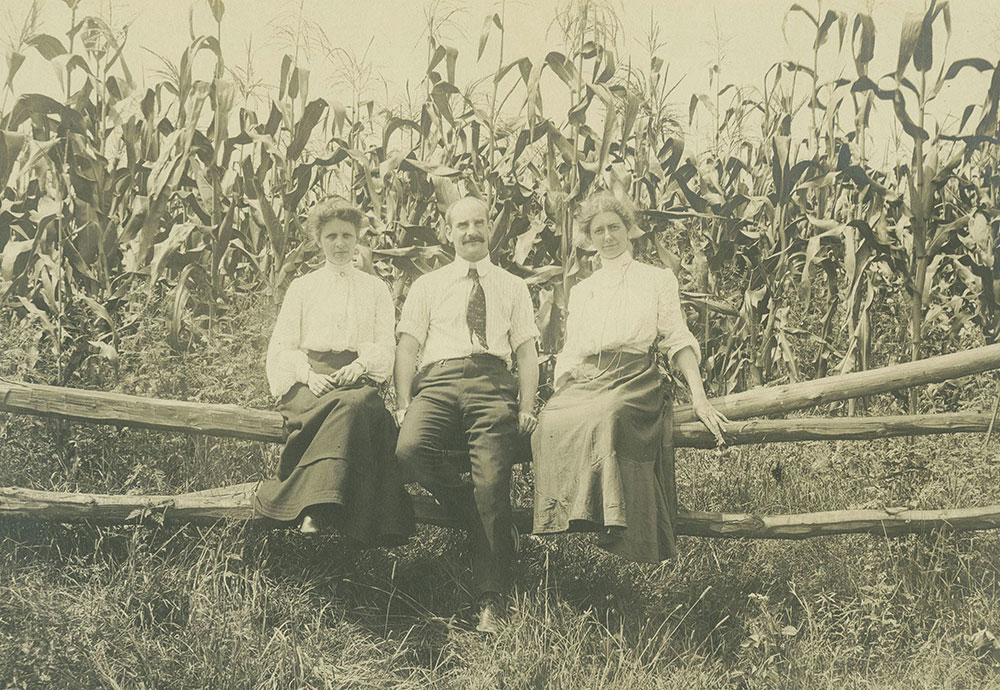People in Front of Cornfield