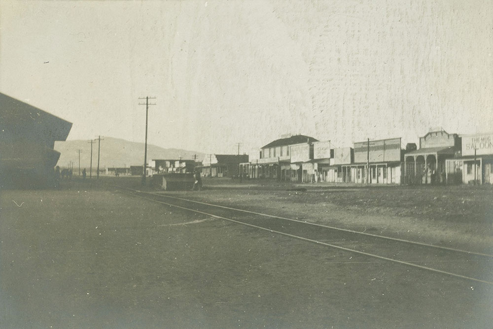 Railroad tracks through town