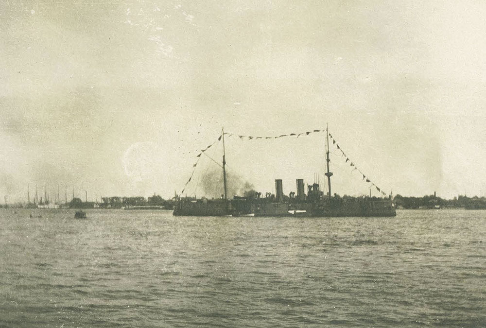 Ship in Harbor Firing Guns