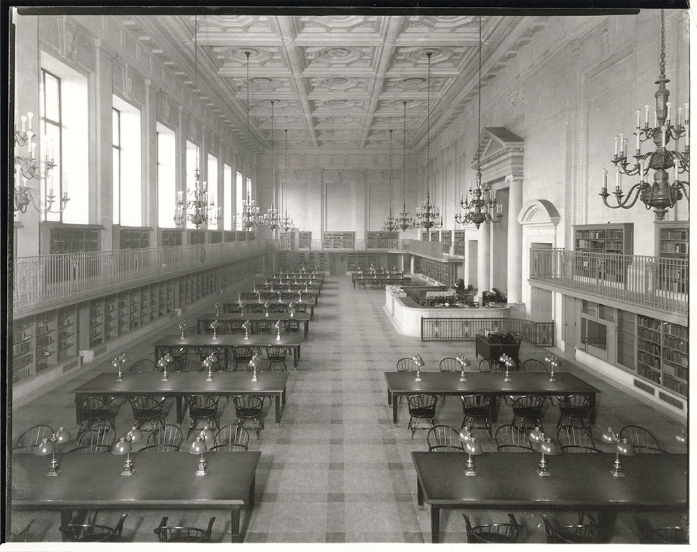 Main Reading Room, now Social Science and History Department of the Central Library of the Free Library of Philadelphia