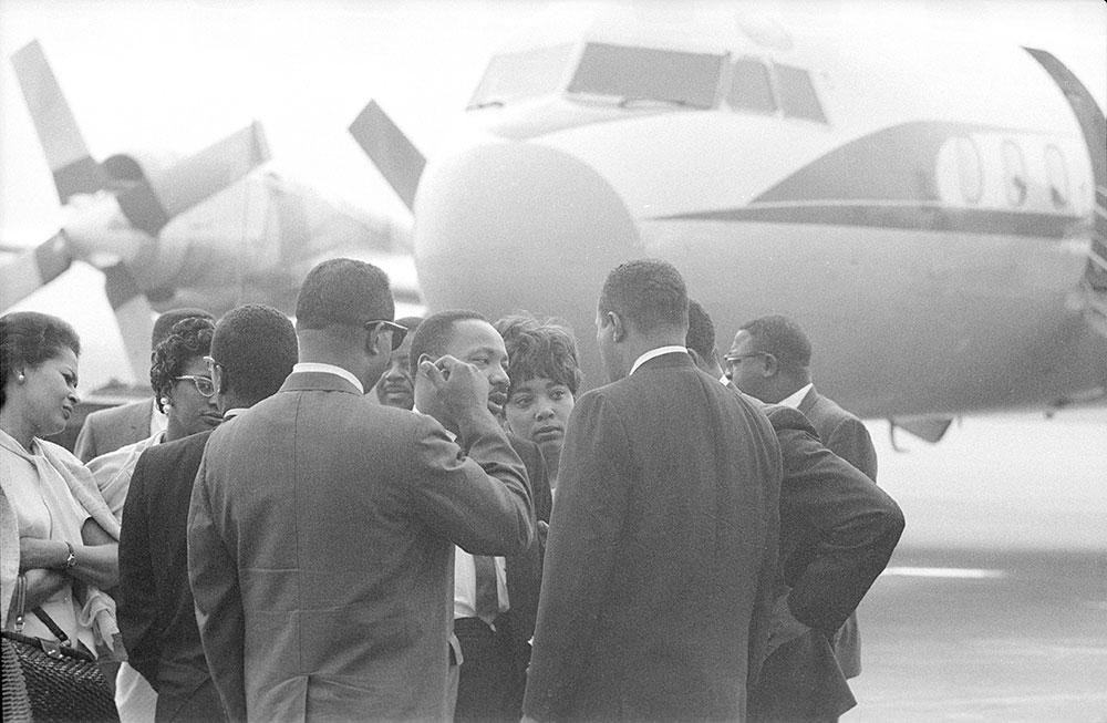 Dr. Martin Luther King leaves Philadelphia International Airport, National Airlines