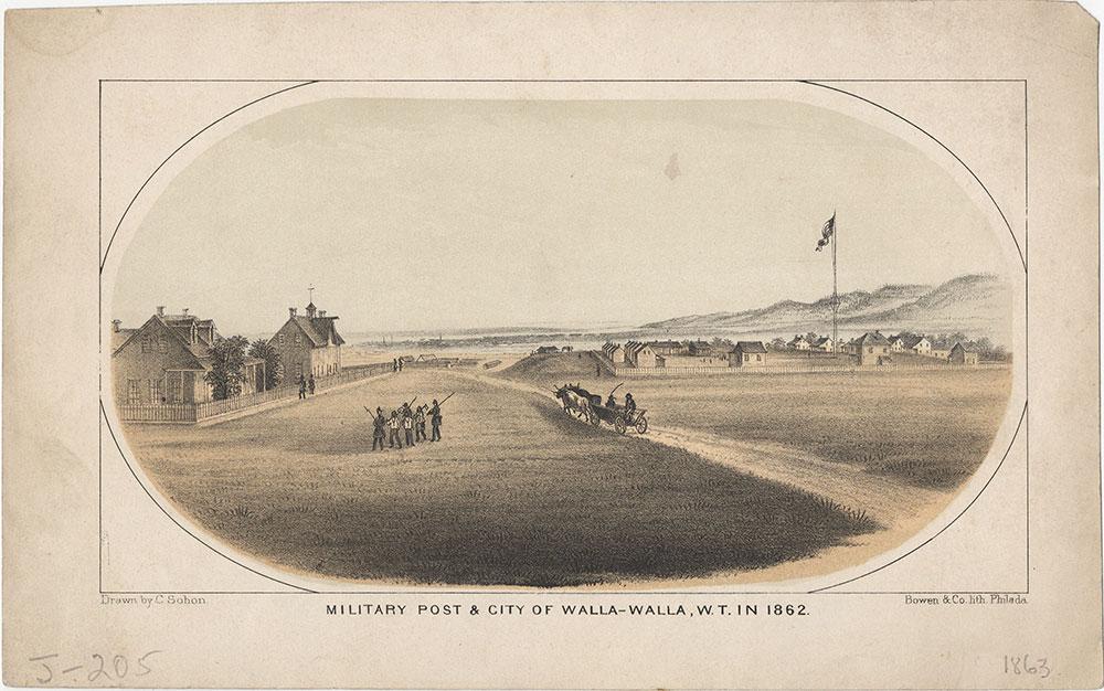 Military Post & City of Walla-Walla, W.T. in 1862