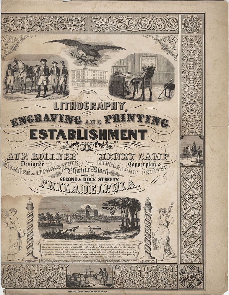 Lithography, engraving and printing establishment. Augs. Kollner designer, engraver & lithographer. Henry Camp copperplate & lithographic printer. Phoenix Block corner of Second & Dock streets Philadelphia [graphic]
