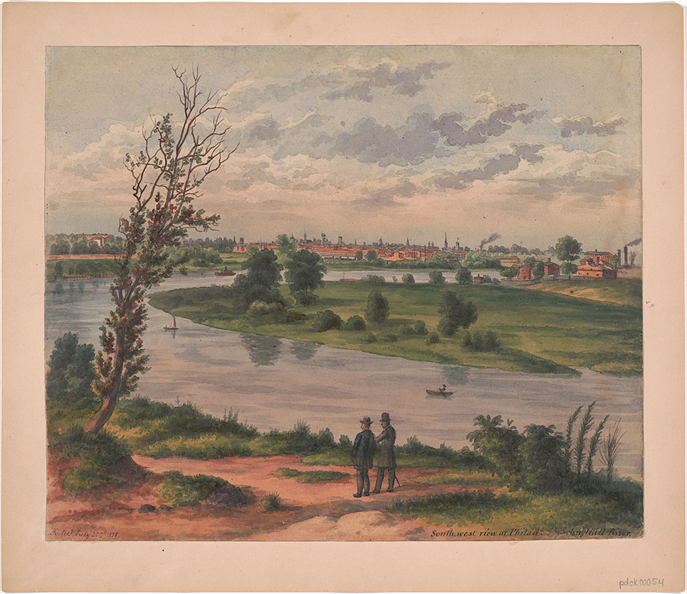 Southwest view of Philadelphia, Schuylkill River