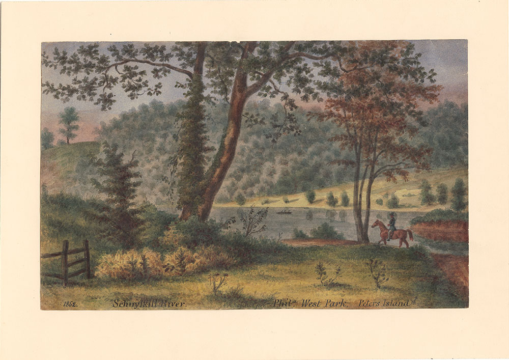 Schuylkill River, Phila.  West Park, Peter's Island