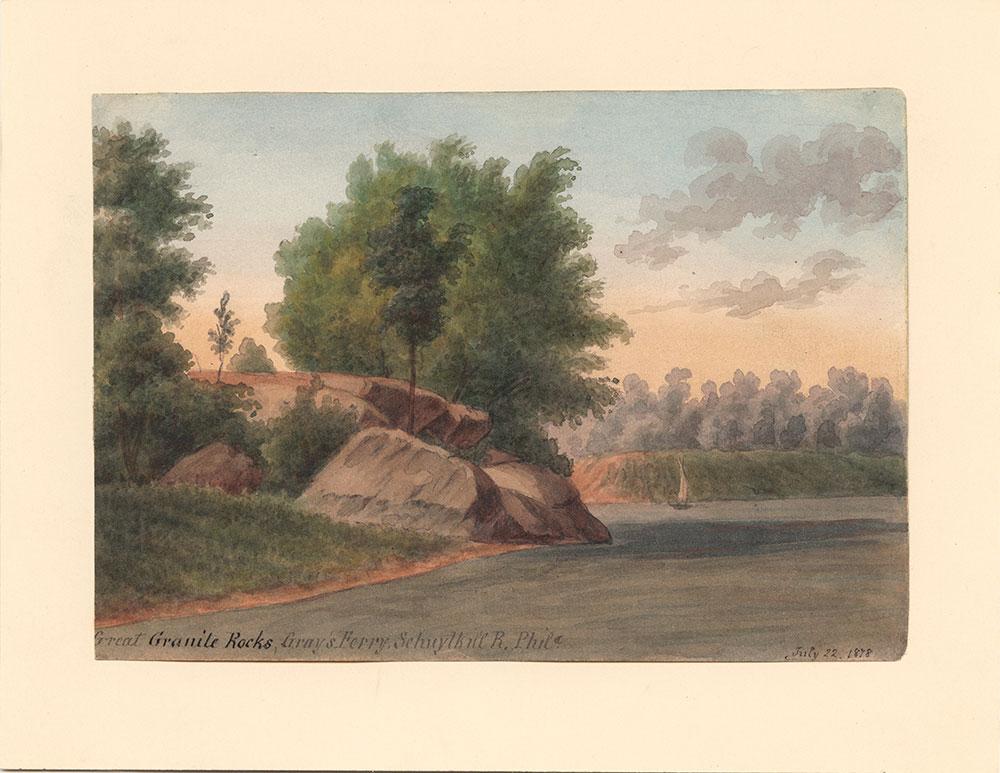 Great Granite Rocks, Gray's Ferry, Schuylkill River, Phila.